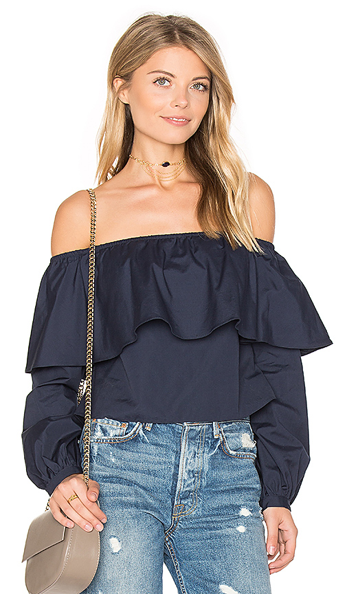 ANIMALE Exposed Shoulder Top in Blue. - size M (also in L,S)
