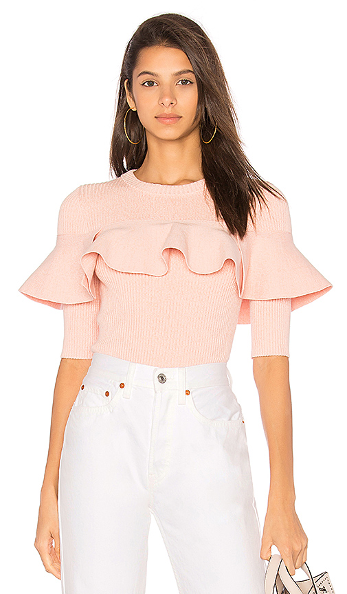 APIECE APART Cropped Ribbed Ruffle Top in Pink