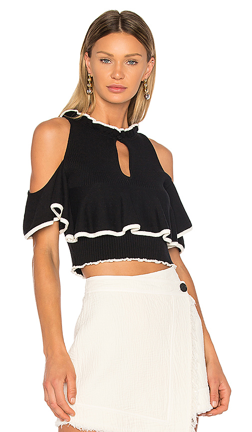 APIECE APART Knit Cold Shoulder Top in Black & White. - size XS (also in L,M,S)