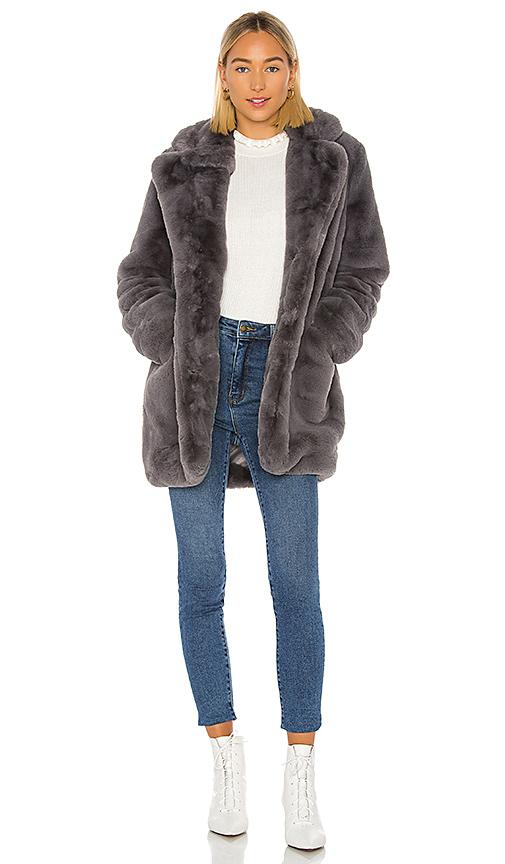 Apparis Coats APPARIS SOPHIE FAUX FUR COAT IN CARBON