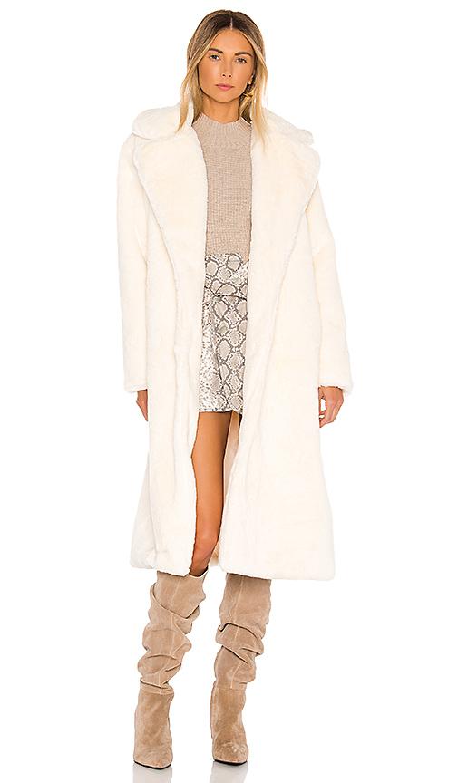 Apparis Coats APPARIS MONA FAUX FUR COAT IN WHITE.