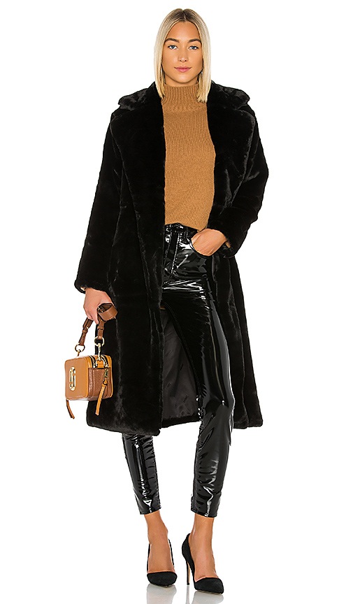 Apparis Coats APPARIS MONA FAUX FUR COAT IN NOIR