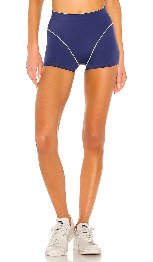 Adam Selman ADAM SELMAN SPORT FRENCH CUT BOOTY BIKER SHORT IN BLUE.