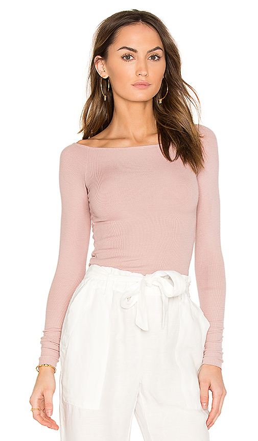ATM Anthony Thomas Melillo Off the Shoulder Rib Bodysuit in Blush. - size L (also in M,S,XS)