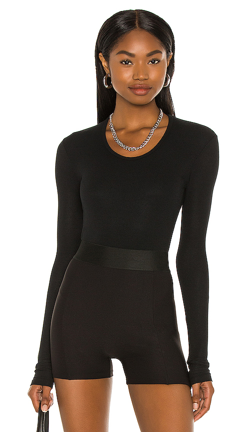 ATM Anthony Thomas Melillo Rib U Neck Bodysuit in Black. - size M (also in L,S,XS)