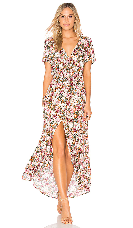 AUGUSTE Wild Rose Maxi Wrap Dress in Rose