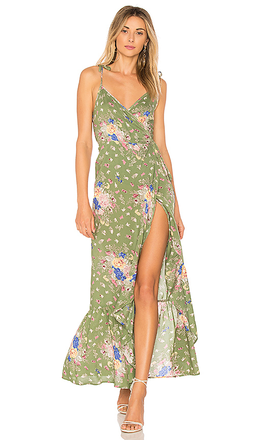 AUGUSTE Eve Market Wrap Maxi Dress in Green
