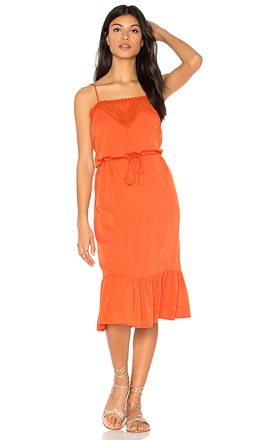 AUGUSTE Victorian Slip Midi Dress in Orange