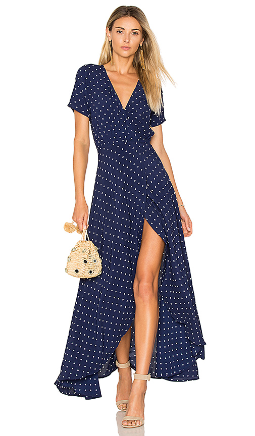AUGUSTE Lily Wrap Maxi Dress Classic Polka Dot in Navy