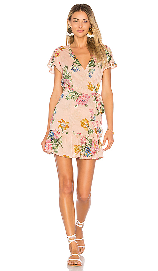 AUGUSTE x REVOLVE Havana Nights Frill Wrap Mini Dress in Blush. - size Aus 10/US M (also in Aus 12/US L,Aus 6/US XS, Aus 8/US S)