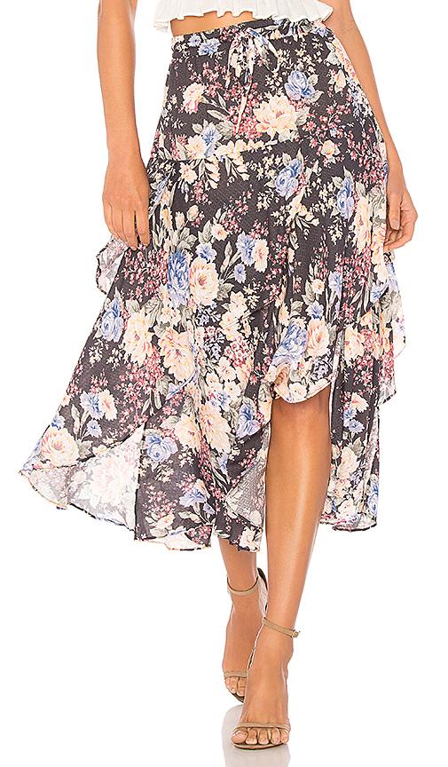 AUGUSTE Dahlia Cascade Skirt in Black. - size Aus 8/US S (also in Aus 10/US M,Aus 6/US XS)