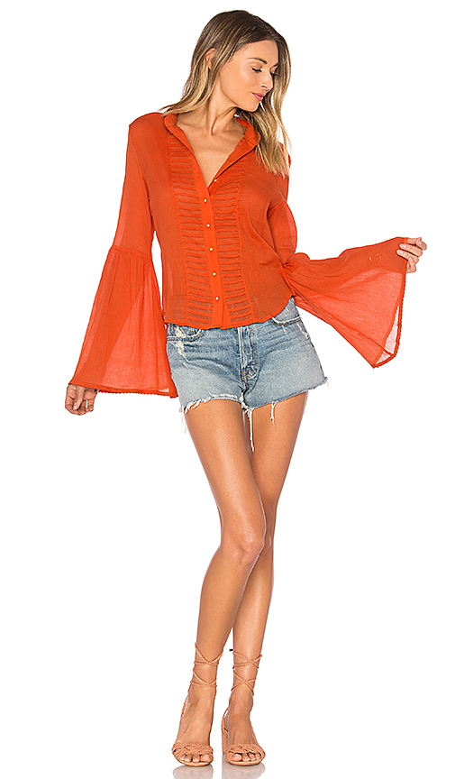AUGUSTE Old Days Bell Sleeved Shirt in Orange