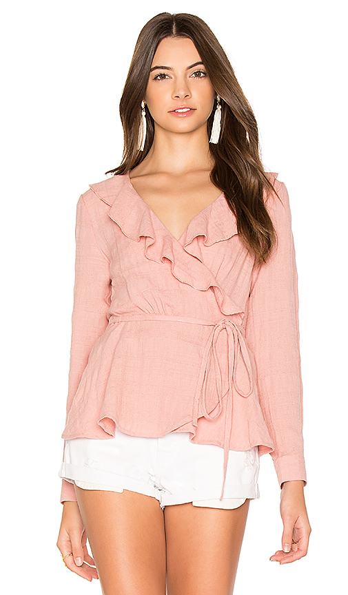 Photo of AUGUSTE Harvey Wrap Top in Pink - shop AUGUSTE tops sales