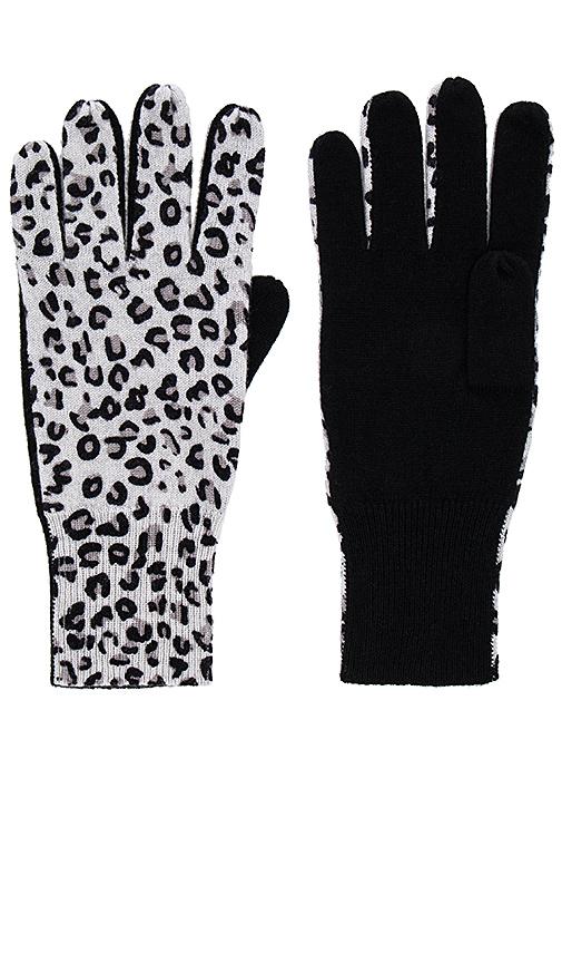 Autumn Cashmere Leopard Gloves in Black.