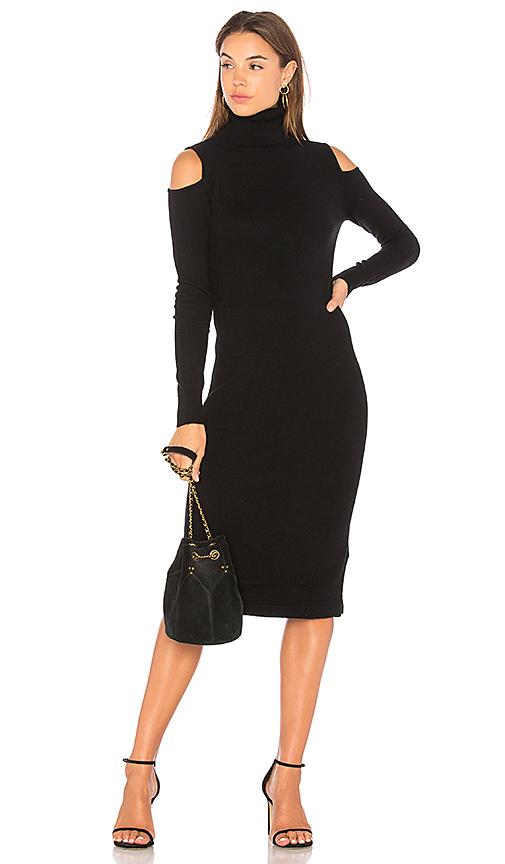 Autumn Cashmere Cold Shoulder Body Con Dress in Black