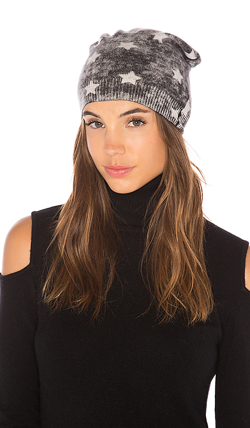 Autumn Cashmere Inked Star Reversible Beanie in Charcoal