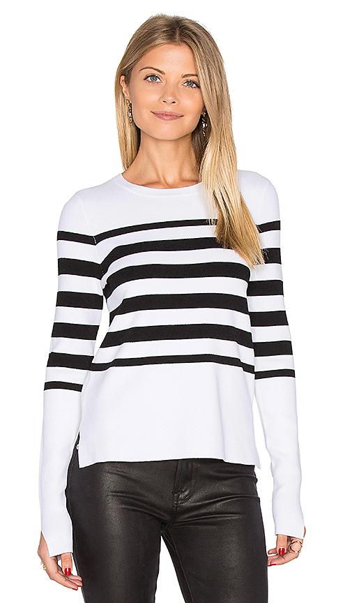 Autumn Cashmere Hi Lo Stripe Sweater in Black & White. - size L (also in M,S,XS)