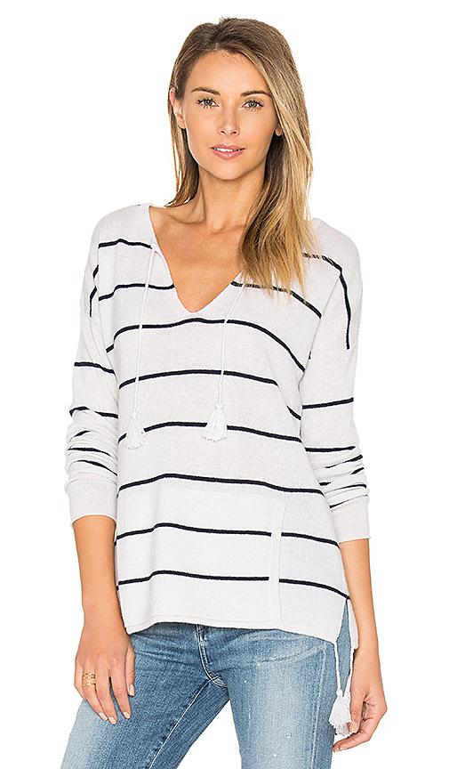 Autumn Cashmere Tassel Striped Baja Sweater in White. - size S (also in XS)