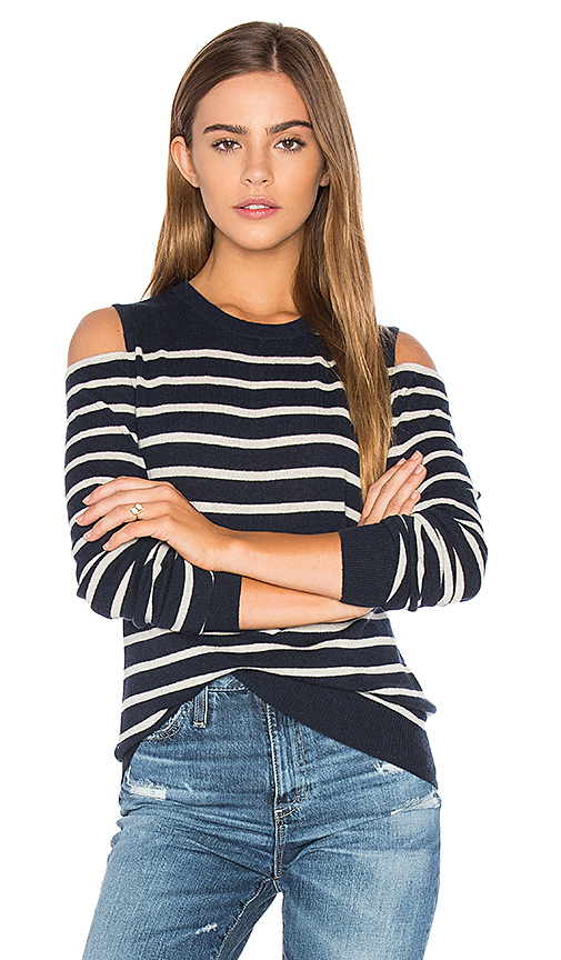 Autumn Cashmere Cold Shoulder Stripe Sweater in Navy. - size M (also in S,XS)