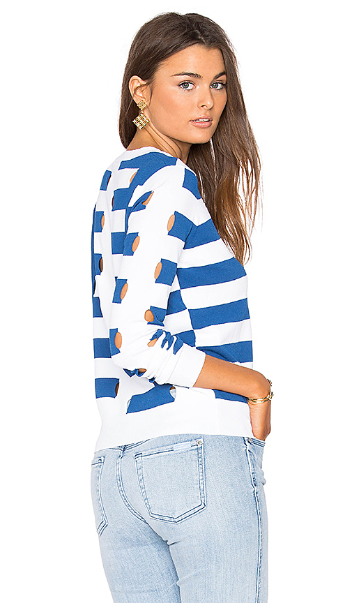 Autumn Cashmere Stripe Sweater in Blue. - size L (also in M,S)