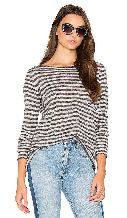 Autumn Cashmere Striped Boatneck Sweater in Gray. - size L (also in M,S,XS)