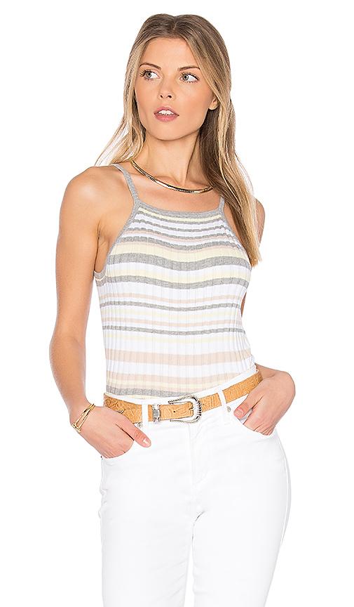Autumn Cashmere x REVOLVE Bib Stripe Crop Top in Gray. - size L (also in M,S,XS)