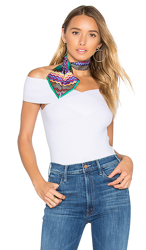 Autumn Cashmere Criss Cross Off Shoulder Top in White