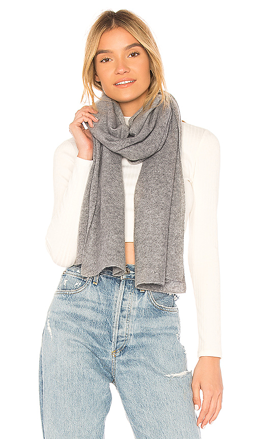 Autumn Cashmere Featherweight Wrap Scarf in Light Gray.