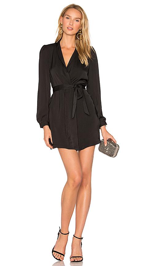 AVEC LES FILLES Wrap Dress in Black. - size L (also in M,S)
