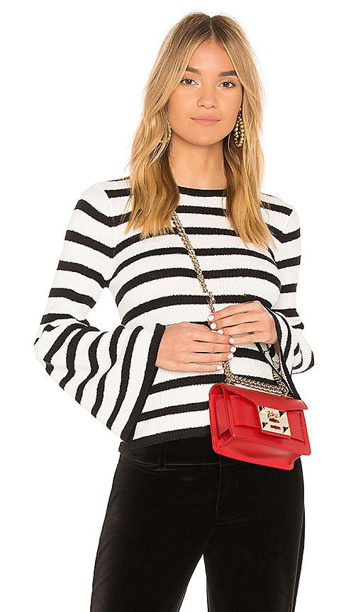 AVEC LES FILLES Striped Bell Sleeve Sweater in Black & White. - size L (also in S,M)