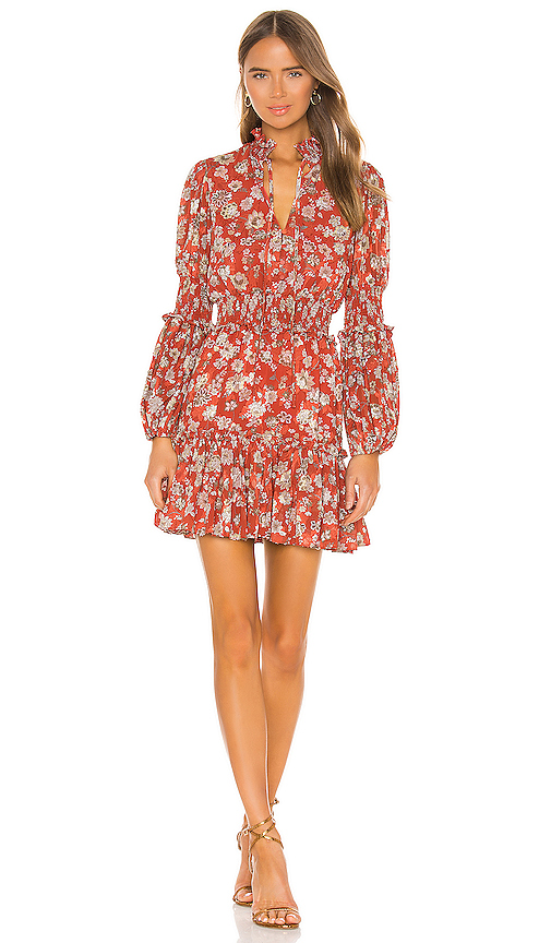 Alexis Rosewell Smocked Floral-print Jacquard Mini Dress In Saffron Floral