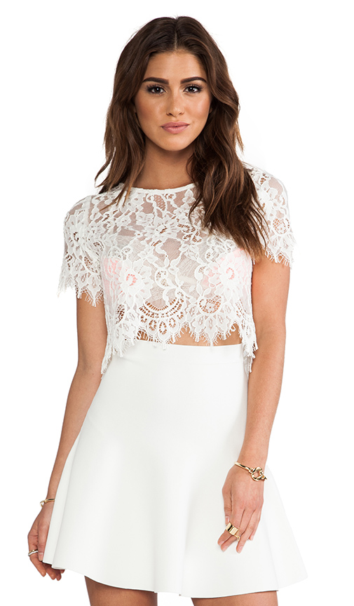 Alexis EXCLUSIVE Lisette Capped Sleeve Lace Crop Top in White ...