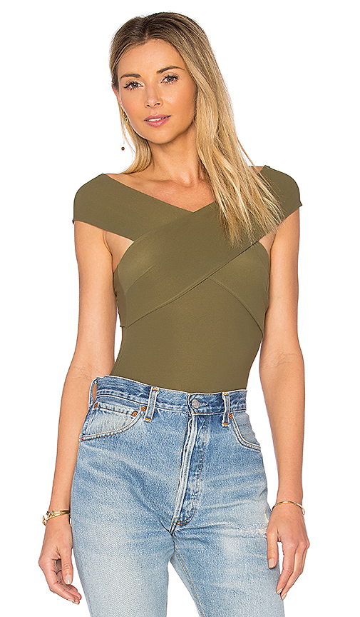 Alix Wooster Bodysuit in Olive. - size L (also in XS)