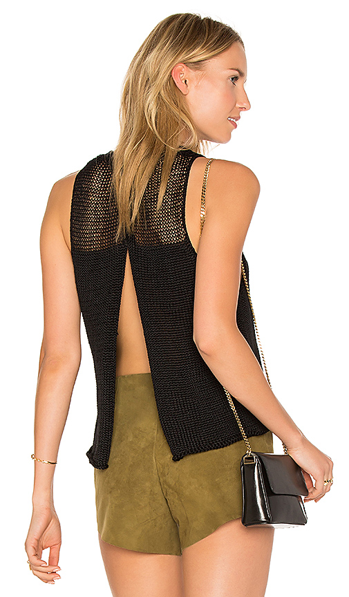 AYNI Huacura Crop Sleeveless Sweater in Black. - size M (also in L,S,XS)