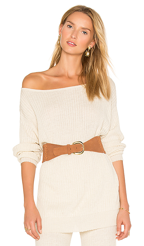 AYNI Java Off the Shoulder Sweater in Cream. - size M (also in S)