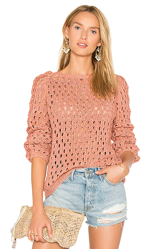 AYNI Pozo Crew Neck Sweater in Coral. - size L (also in M,S)