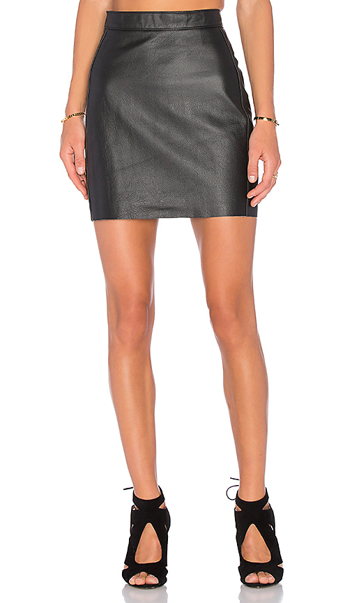 AYNI Zarre Leather Skirt in Black. - size L (also in S)