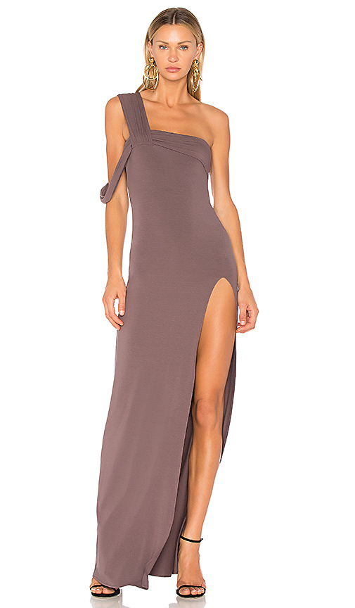 Baja East One Shoulder Maxi Dress in Gray