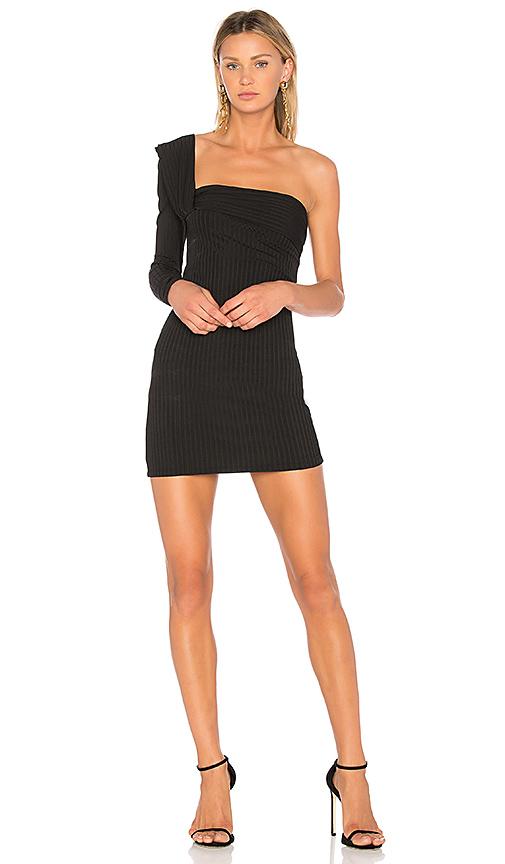 Baja East One Shoulder Mini Dress in Black