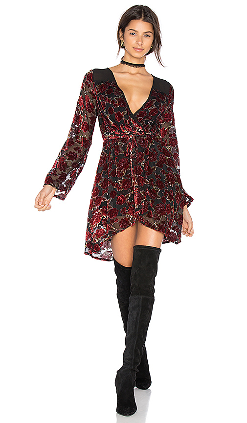 Band of Gypsies Burnout Floral Wrap Dress in Red. - size L (also in XS)