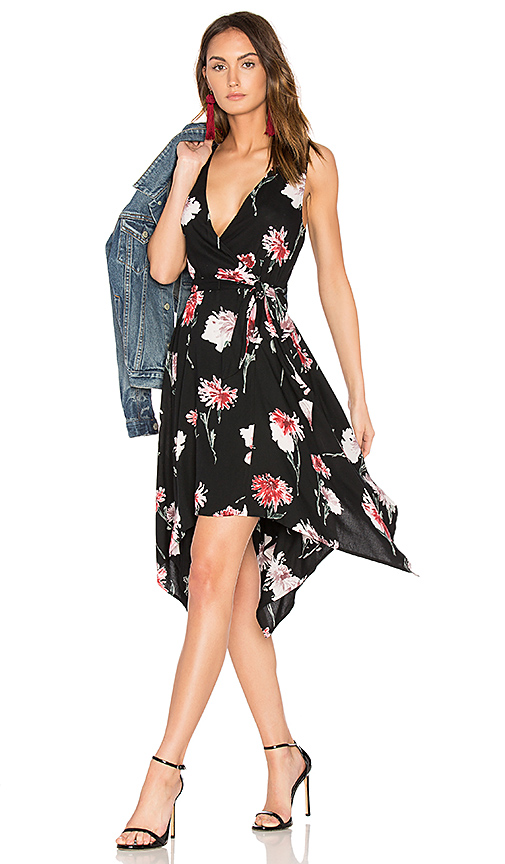 Band of Gypsies Floral Hanky Wrap Dress in Black. - size L (also in XS)