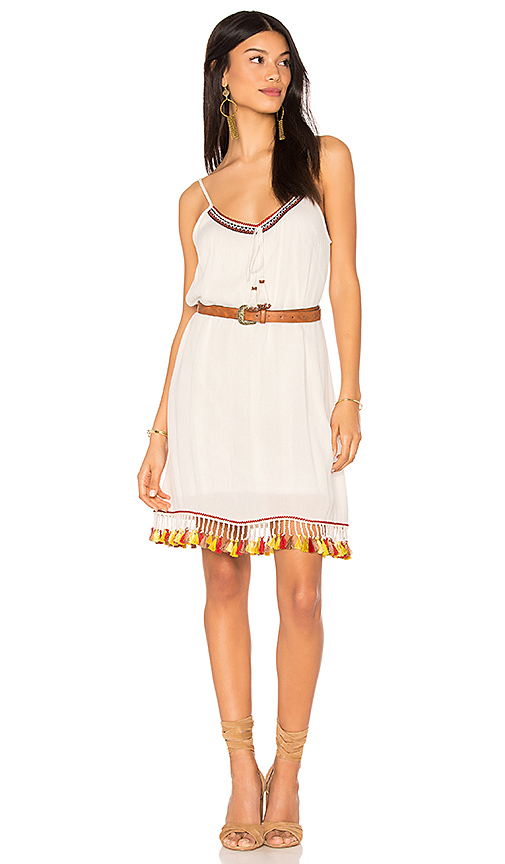 Band of Gypsies Tassel Trim Belted Shift Dress in Ivory