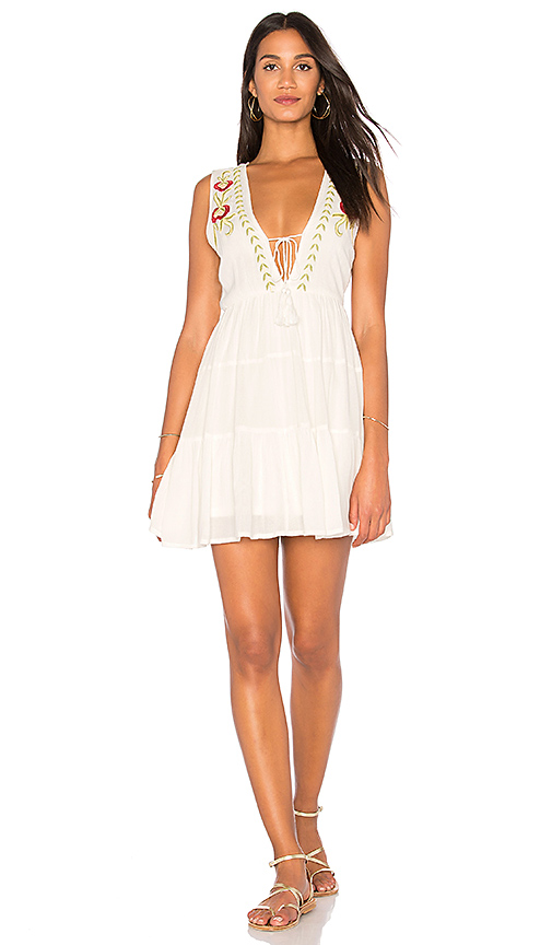 Band of Gypsies Embroidered Babydoll Dress in Ivory