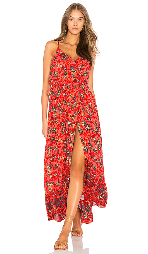 Band of Gypsies Bohemian Wrap Dress in Red. - size L (also in M,S,XS)