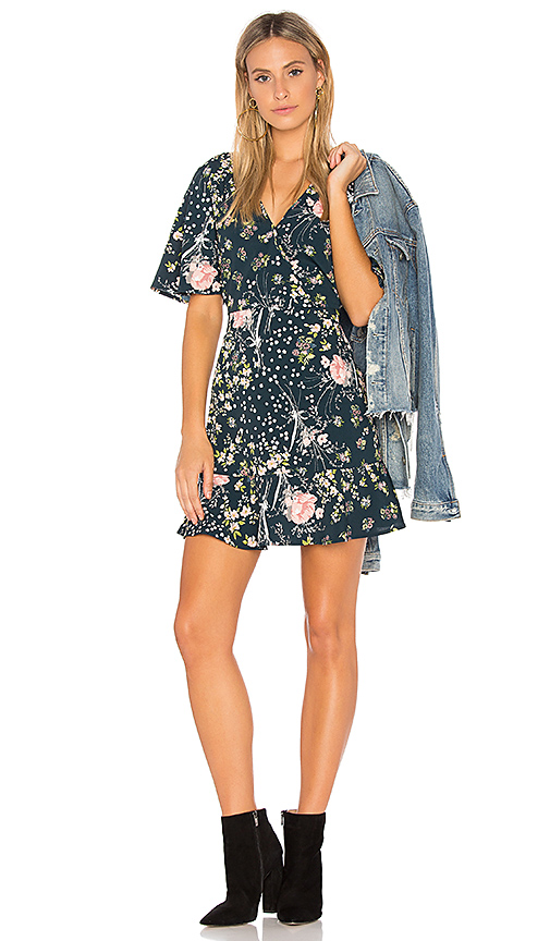 Band of Gypsies Moody Floral Dress in Blue