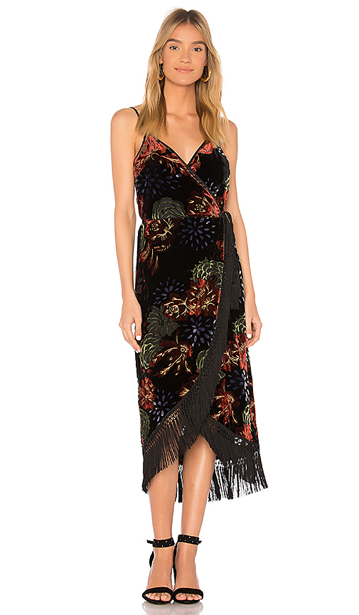 Band of Gypsies Romantic Burnout Fringe Midi Dress in Black
