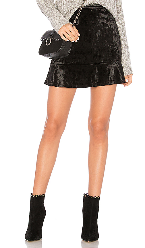 Band of Gypsies Crushed Velvet Ruffle Skirt in Black. - size S (also in L)