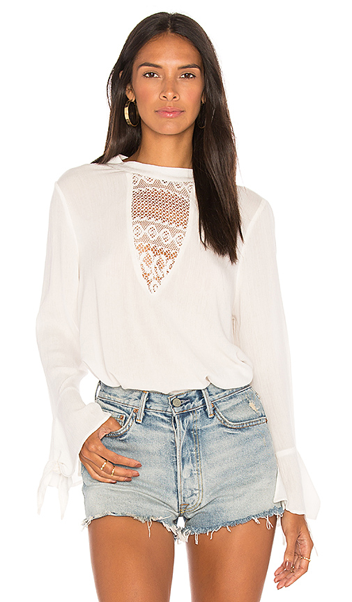 Band of Gypsies Crochet Inset Blouse in Ivory