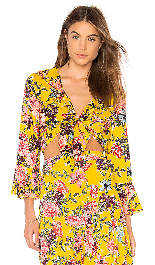 Band of Gypsies Chrysanthemum Tie Front Top in Mustard. - size M (also in S)