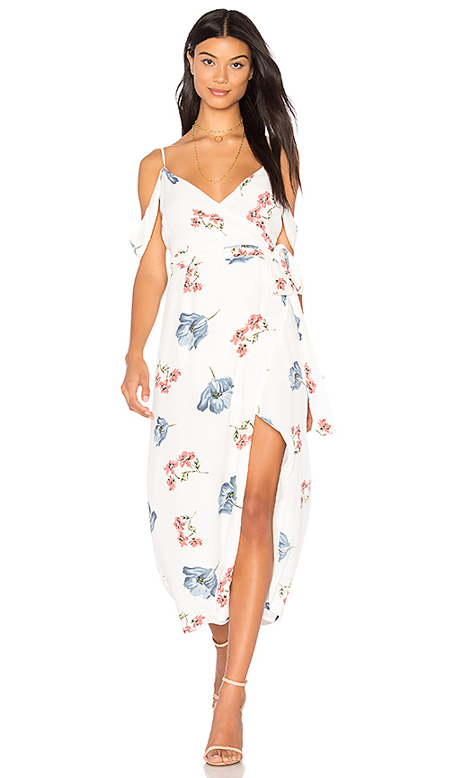 Bardot Floral Wrap Dress in White. - size Aus 10 / US S (also in Aus 12 / US M)